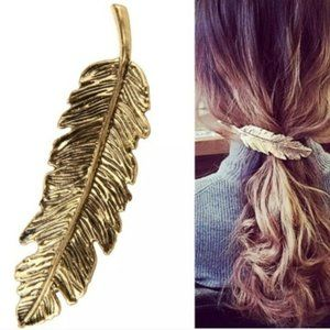Brandy Melville Antique Gold Feather Hair Clip